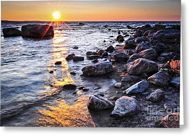 Lakeshore Greeting Cards - Sunset over water Greeting Card by Elena Elisseeva