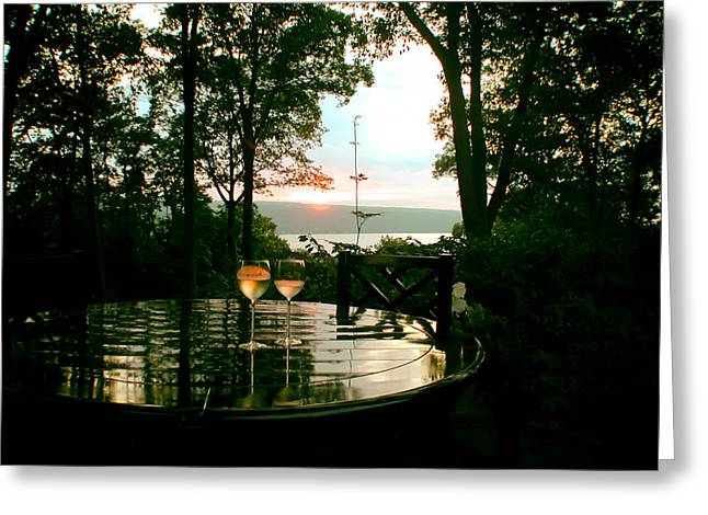 Glass Table Reflection Greeting Cards - Sunset Perfection  Greeting Card by Mountain Dreams