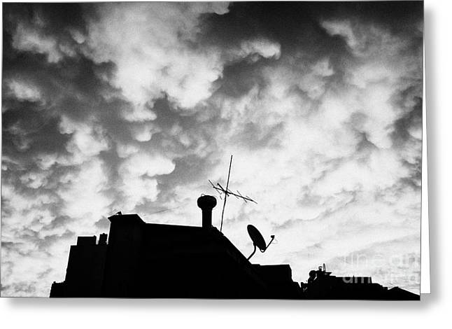 Roof Covering Greeting Cards - sunset reflecting off stratocumulus cloud deck over the city of Santiago Chile Greeting Card by Joe Fox