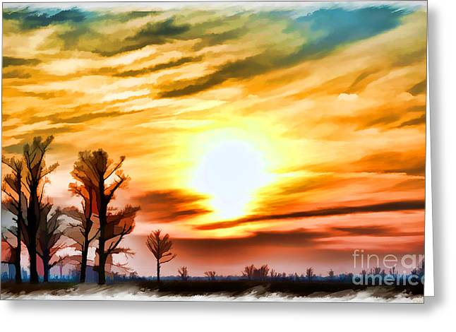Sunset Framed Prints Greeting Cards - Sunset Sky So Mo  digital paint Greeting Card by Debbie Portwood