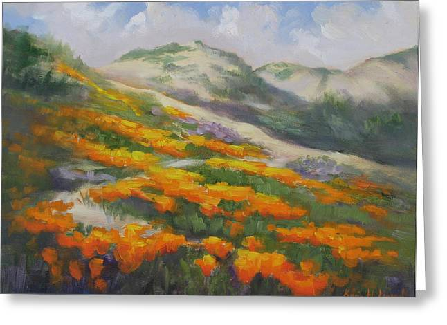 Ocen Landscape Greeting Cards - Sunset State Beach Poppies Greeting Card by Karin  Leonard