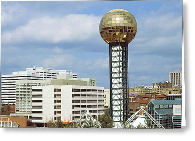Tennessee Landmark Greeting Cards - Sunsphere In Worlds Fair Park Greeting Card by Panoramic Images