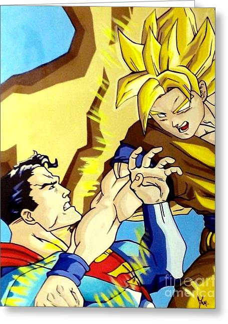 Lex Luthor Greeting Cards - Super Man Vs Goku Greeting Card by Jin Kai