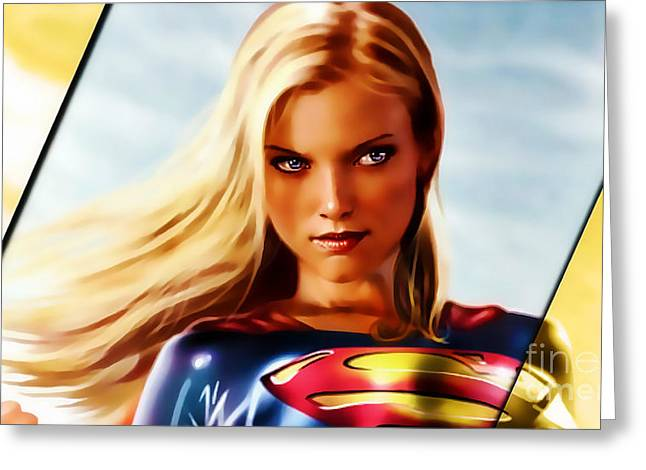 Supergirl Greeting Cards - Supergirl Greeting Card by Marvin Blaine