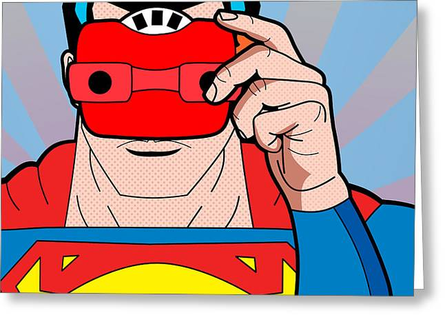 Funny Pop Culture Greeting Cards - Superman 6  Greeting Card by Mark Ashkenazi