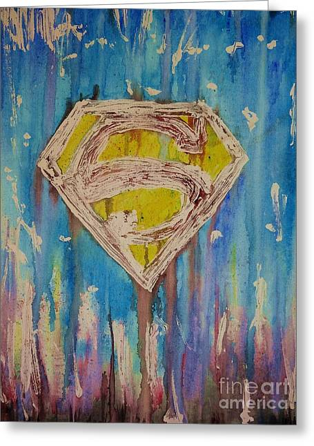 Dc Comics Paintings Greeting Cards - Supermans Shield Greeting Card by Justin Moore