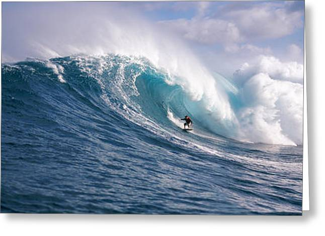 Panoramic Photography Greeting Cards - Surfer In The Sea, Maui, Hawaii, Usa Greeting Card by Panoramic Images