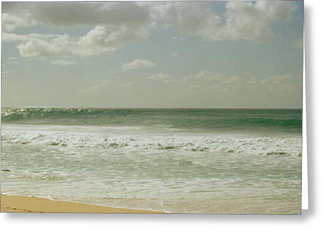 Surfer Images Greeting Cards - Surfer Standing On The Beach, North Greeting Card by Panoramic Images