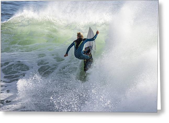 Santa Cruz Ca Greeting Cards - Surfing at Steamer Lane Greeting Card by Bruce Frye