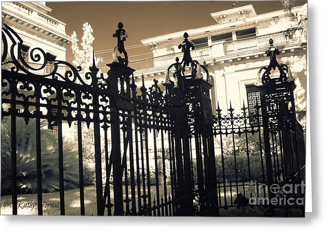 Art Nouveau Greeting Cards - Surreal Gothic Savannah Mansion Iron Gates Greeting Card by Kathy Fornal