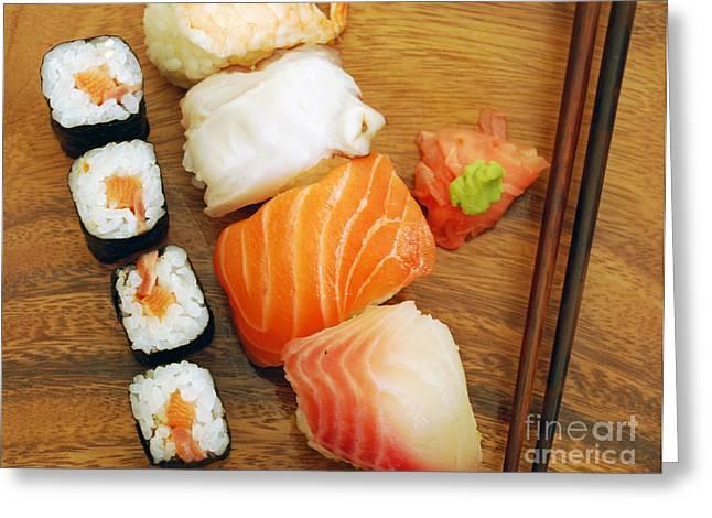 Wasabi Greeting Cards - Sushi Greeting Card by Luis Alvarenga