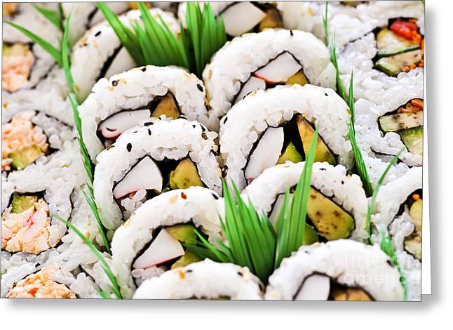 D Greeting Cards - Sushi platter Greeting Card by Elena Elisseeva