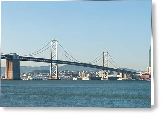 San Francisco Bay Greeting Cards - Suspension Bridge Across A Bay, Bay Greeting Card by Panoramic Images