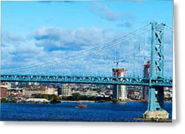 Ben Franklin Bridge Greeting Cards - Suspension Bridge Across A River, Ben Greeting Card by Panoramic Images