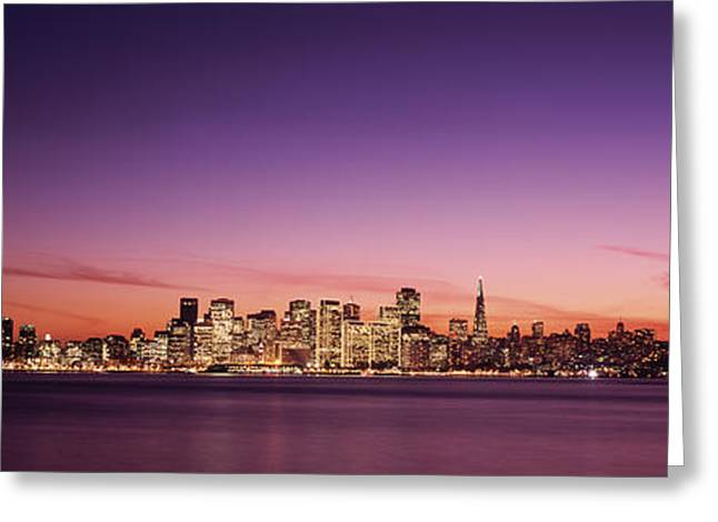 San Francisco Bay Greeting Cards - Suspension Bridge With City Skyline Greeting Card by Panoramic Images