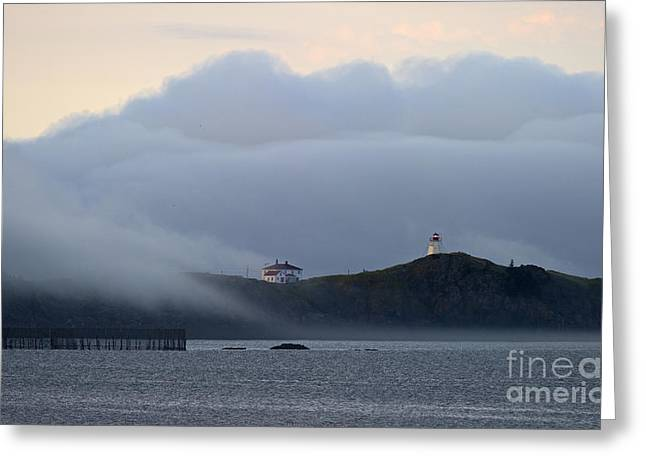 Thick Fog Greeting Cards - Swallowtail Lighthouse... Greeting Card by Nina Stavlund
