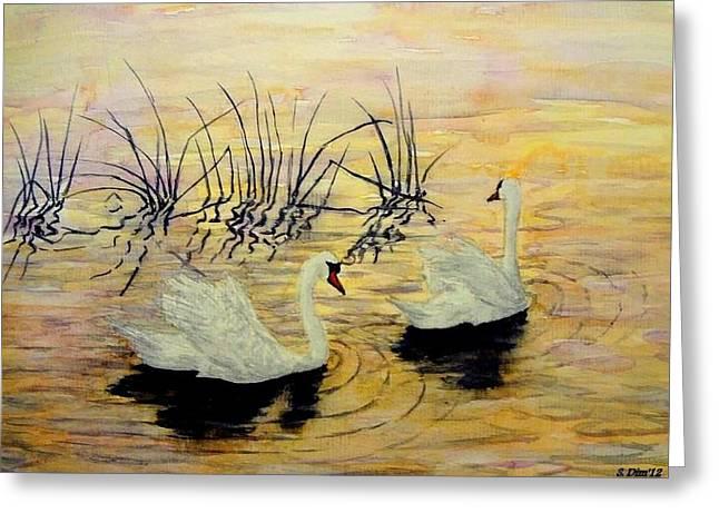 Svetla Dimitrova Greeting Cards - Swans Greeting Card by Svetla Dimitrova