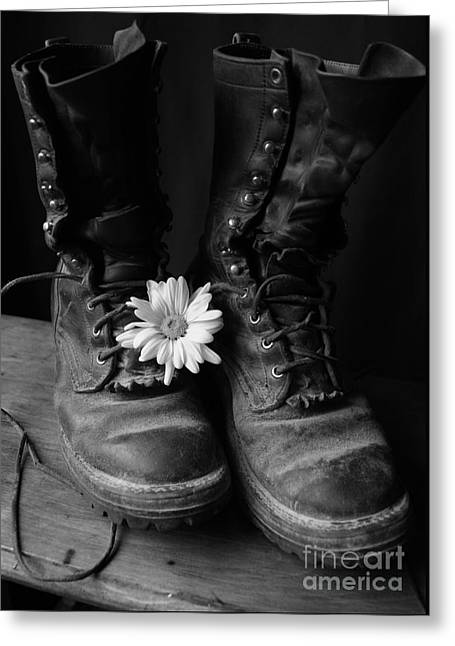 Work Boots Greeting Cards - Sweat and Fire Worn Greeting Card by Kerri Mortenson