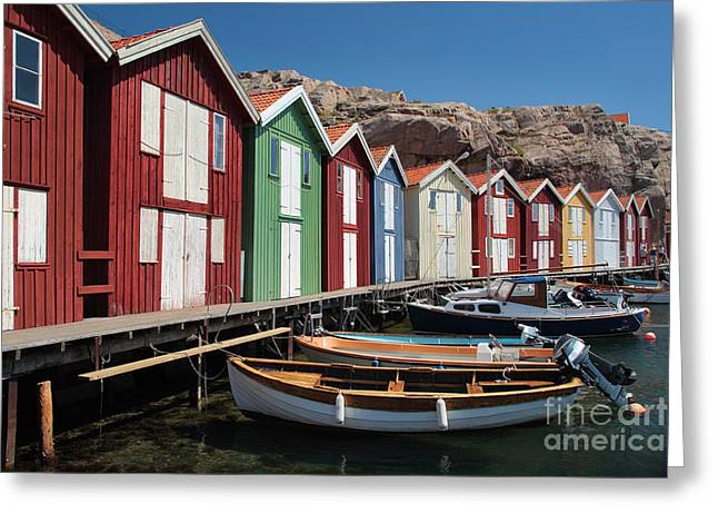Wet Window Greeting Cards - Swedish Fishing Village Greeting Card by Inge Johnsson