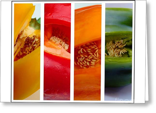 Green Barbara Griffin Art Greeting Cards - Sweet Bell Peppers Greeting Card by Barbara Griffin