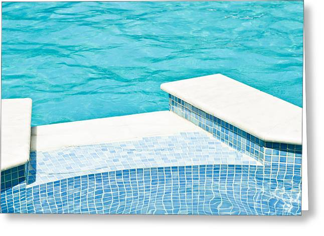 Stepping Stones Greeting Cards - Swimming pool Greeting Card by Tom Gowanlock