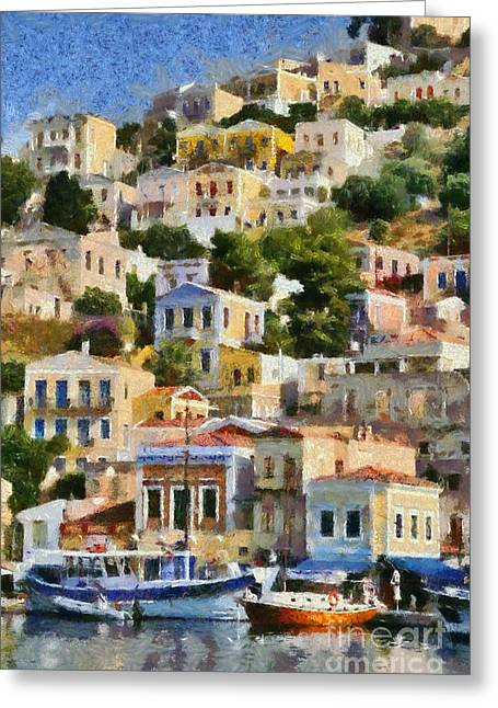 Dodekanissos Greeting Cards - Symi island Greeting Card by George Atsametakis