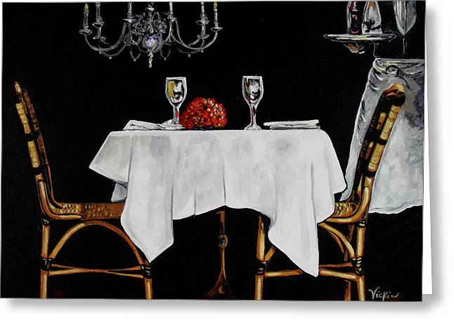 Dinner For Two Paintings Greeting Cards - Table for Two Greeting Card by Vickie Warner