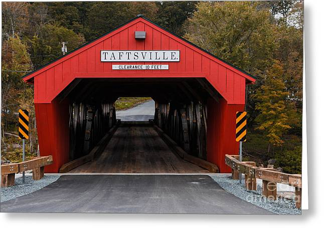 Covered Bridge Greeting Cards - Taftsville Covered Bridge Vermont Greeting Card by Edward Fielding