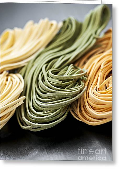 Tricolored Greeting Cards - Tagliolini pasta Greeting Card by Elena Elisseeva