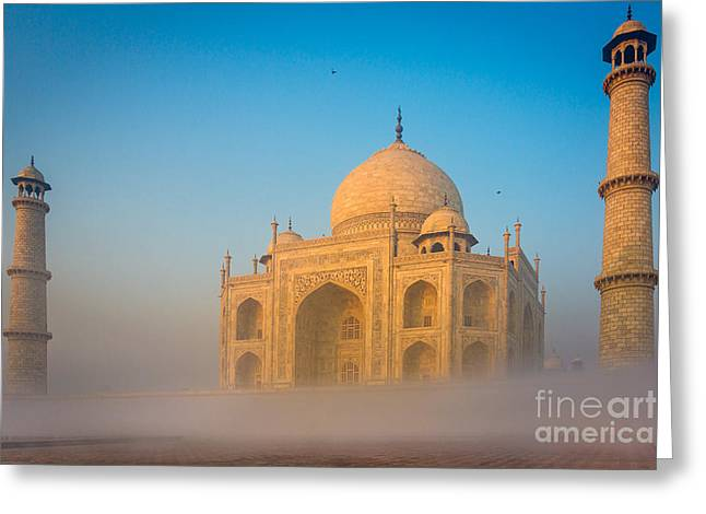Dome Greeting Cards - Taj Mahal In The Mist Greeting Card by Inge Johnsson