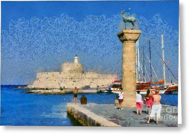 Mandraki Greeting Cards - Taking pictures at the entrance of Mandraki port Greeting Card by George Atsametakis