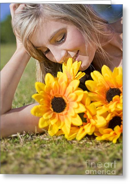 Unwind Photographs Greeting Cards - Taking Time To Smell The Flowers Greeting Card by Ryan Jorgensen