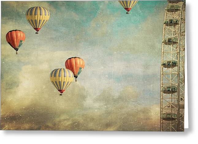 Surreal Ferris Wheel Greeting Cards - Tales Of Far Away Greeting Card by Violet Gray