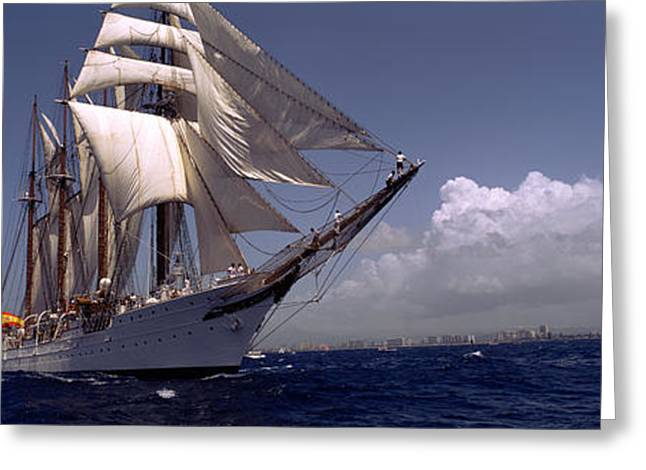 Sailing Ship Greeting Cards - Tall Ship In The Sea, Puerto Rico Greeting Card by Panoramic Images
