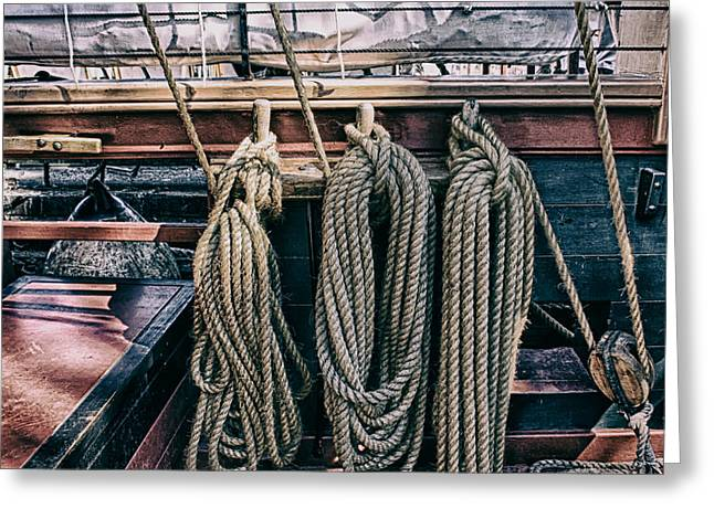 Sailboat Photos Greeting Cards - Tall Ship Rigging Greeting Card by James Smith