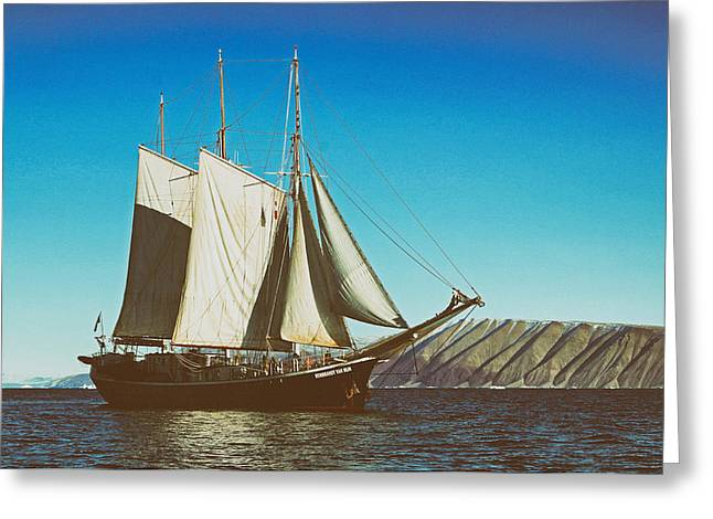 Snow. Ocean Greeting Cards - Tall Ship Sailing off the Coast of Greenland Greeting Card by Pixabay