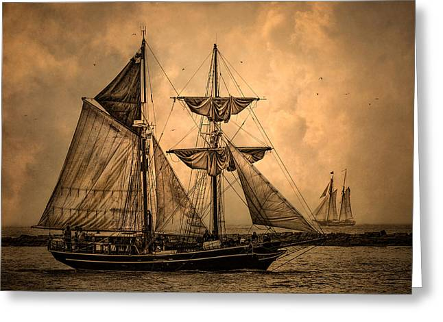 Wooden Ship Greeting Cards - Tall Ships Greeting Card by Dale Kincaid
