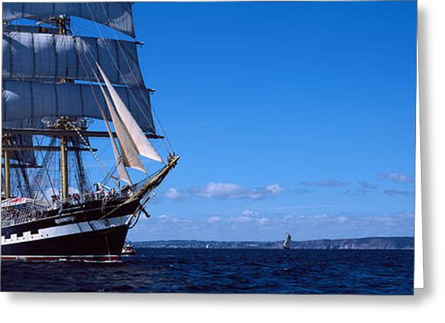 Sailing Ship Greeting Cards - Tall Ships Race In The Ocean, Baie De Greeting Card by Panoramic Images