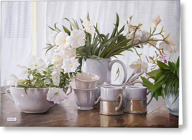 Interior Still Life Paintings Greeting Cards - Tante Tazze Bianche Greeting Card by Danka Weitzen