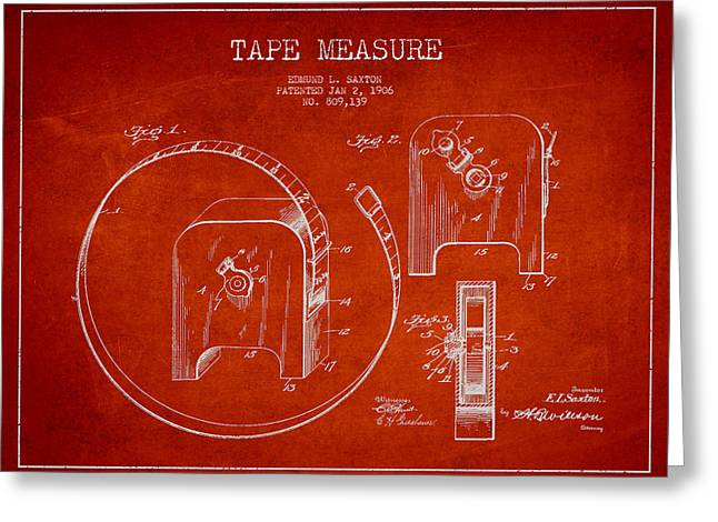Carpenter Greeting Cards - Tape measure Patent Drawing from 1906 Greeting Card by Aged Pixel