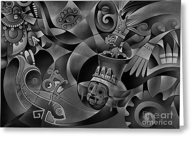 Aztec Greeting Cards - Tapestry of Gods - Tlaloc Greeting Card by Ricardo Chavez-Mendez