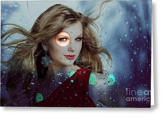 Photographs With Red. Mixed Media Greeting Cards - Taylor Swift Greeting Card by Marvin Blaine