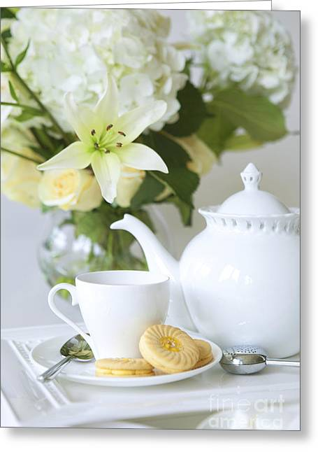 Tea Cup Greeting Cards - Tea and Cookies Greeting Card by Diane Diederich