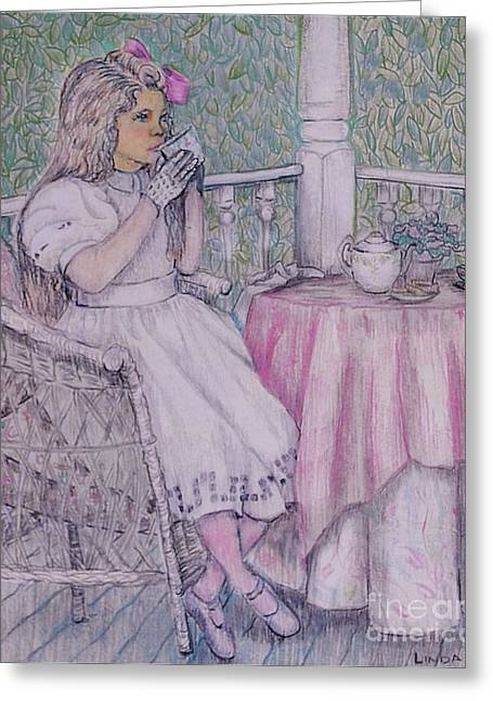 Linda Simon Wall Decor Drawings Greeting Cards - Tea Time for Alexis Greeting Card by Linda Simon