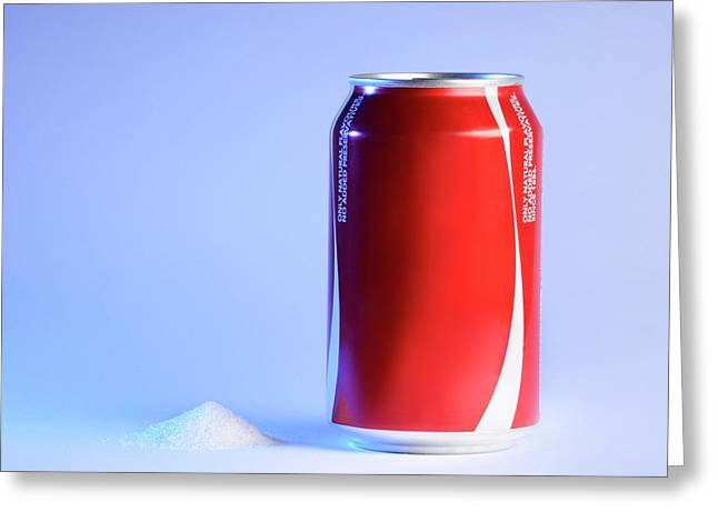 Teaspoon Of Sugar With Can Of Fizzy Drink Greeting Card by Cordelia Molloy
