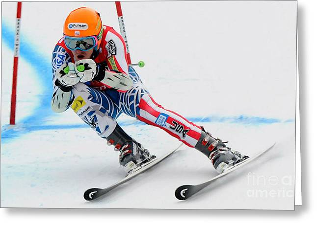 Snow Boarder Greeting Cards - Ted Ligety skiing  Greeting Card by Lanjee Chee