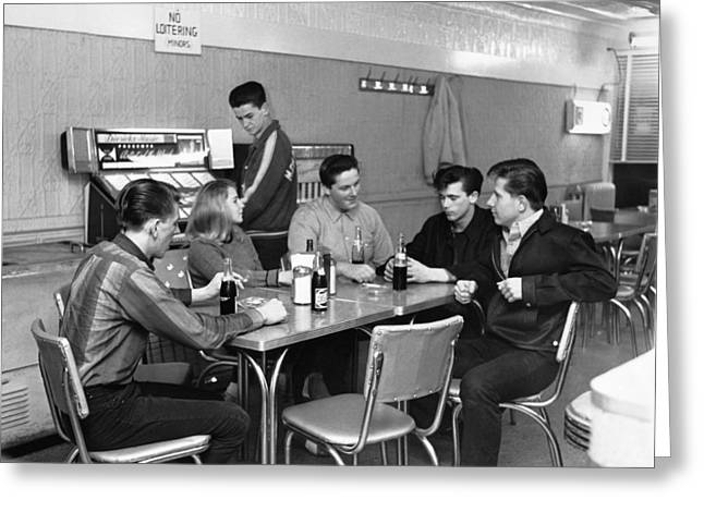 Teenagers Hanging Out Greeting Card by Underwood Archives