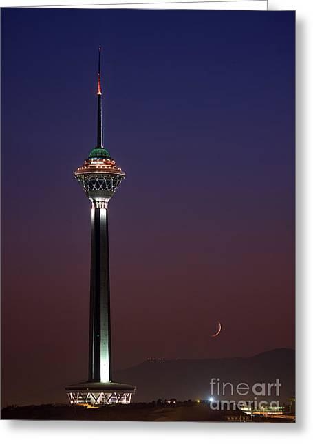 Tehran Greeting Cards - Tehran In Twilight Greeting Card by Babak Tafreshi