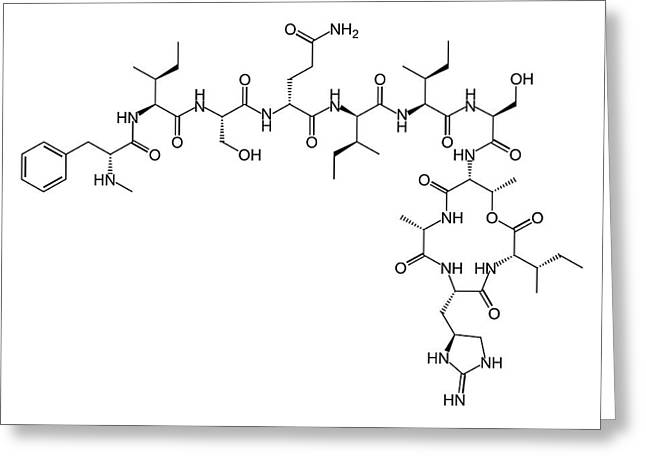 Teixobactin Antibiotic Structure Formulae Greeting Card by Alfred Pasieka
