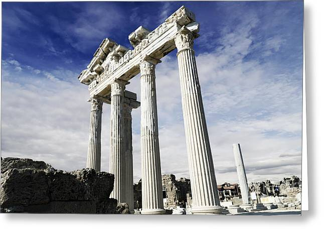 Famous Pyrography Greeting Cards - Temple of Apollo in Side Greeting Card by Jelena Jovanovic